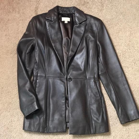 Cache Jackets & Blazers - Sassy Brown Leather Jacket sz 4